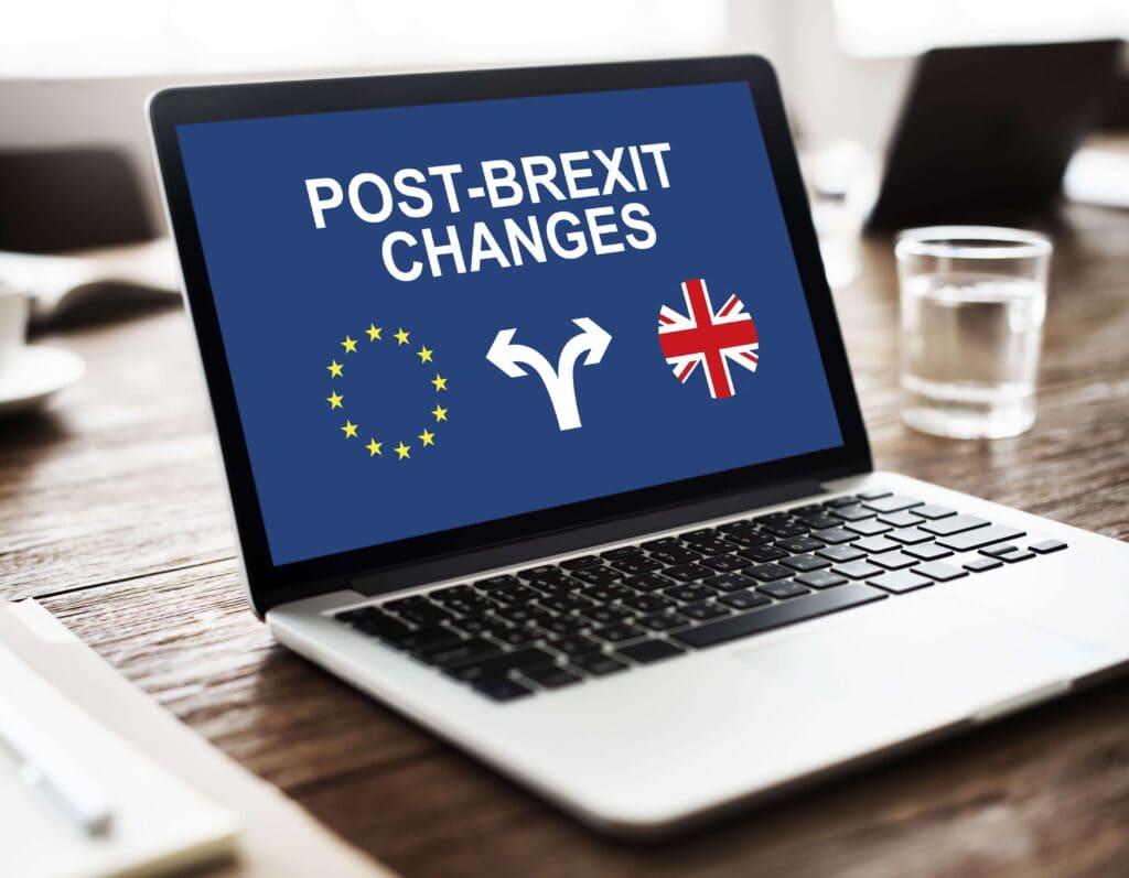 Post Brexit Changes Text on Laptop