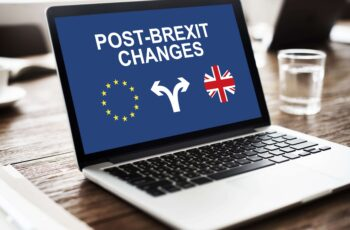 Post Brexit Changes Text on Laptop